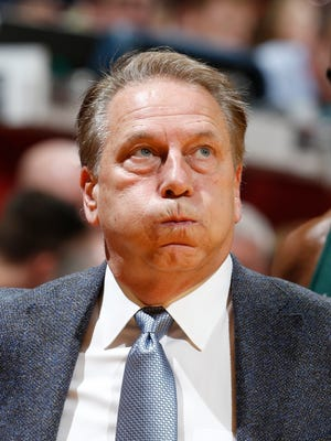 Michigan State coach Tom Izzo coaches on the sidelines during MSU's 82-75 loss Saturday in Bloomington, Ind.