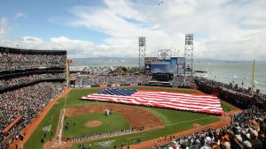 The playing of the National Anthem before opening day at AT&T Park.