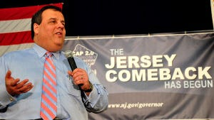 Gov. Chris Christie at a February 2012 town hall meeting at the Caldwell Community Center. (Governor's Office photo)