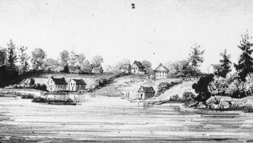 This is the first-known view of the shore of Sheboygan. This unknown artist's rendering from 1838, showed the natural beauty of the setting. Located at the site where the Sheboygan River enters Lake Michigan, this natural harbor was considered the best on the western shore of the great lake.