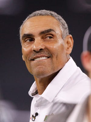 Jan 2, 2014; St. Petersburg, FL, USA; Team Nitro head coach Herm Edwards during the second half at Tropicana Field. Team Highlight defeated the Team Nitro 31-21. Mandatory Credit: Kim Klement-USA TODAY Sports