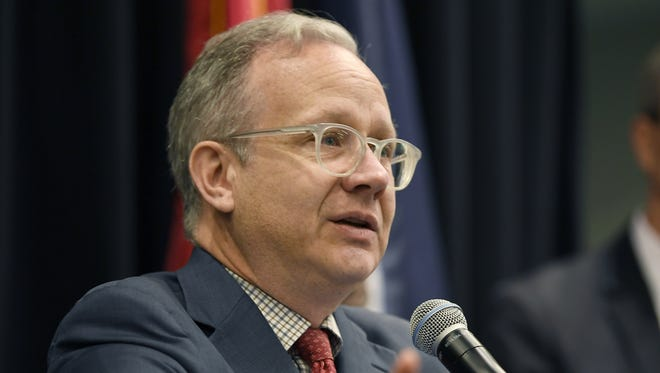 Vice Mayor David Briley addresses the crowd gathered for the release of Mayor Megan Barry's transit plan at Music City Center on Oct. 17, 2017.