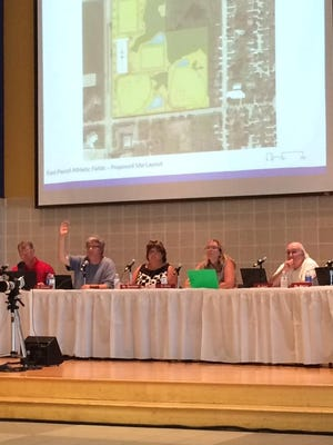 Sheboygan Area School District board members hear a revised Field of Dreams plan from district officials on July 14.
