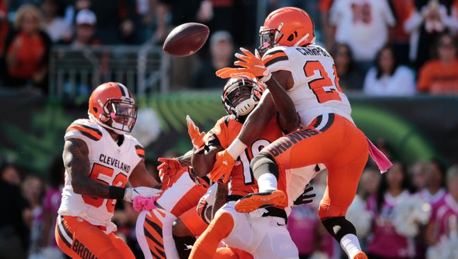 Bengals wide receiver A.J. Green catches a deep pass in the end zone as time expires in the second quarter.