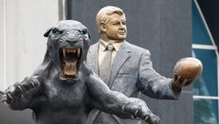Panthers 'contractually obligated' to keep Jerry Richardson statue, new owner David Tepper says