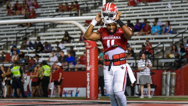 UL QB Anthony Jennings takes the field following halftime against McNeese State on Saturday night.