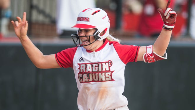 UL's Casidy Chaumont celebrates after hitting a game-winning, two-run homer in the bottom of the 11th on Sunday at Lamson Park to beat No. 2-ranked Florida.