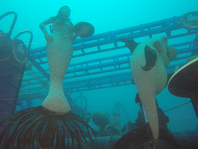 As divers swim in and around the ship (which is as