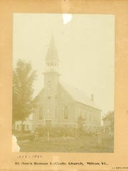 Historic photo of St. Ann's Roman Catholic Church. This church stood from 1859 to 1894. The original St. Ann's Church was destroyed by fire in 1894.