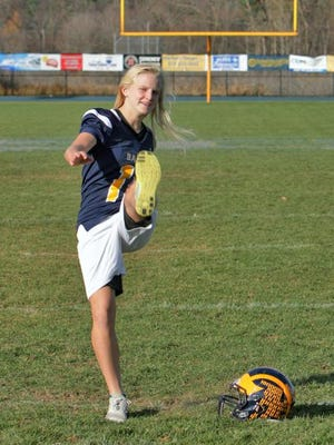 Maddie Pogarch joined the Hartland football team wanting to learn more about how teams work and to play a game she was curious about.