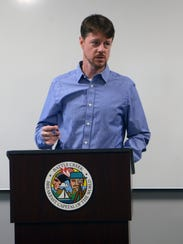 Battle Creek City Commissioner Andy Helmboldt speaks