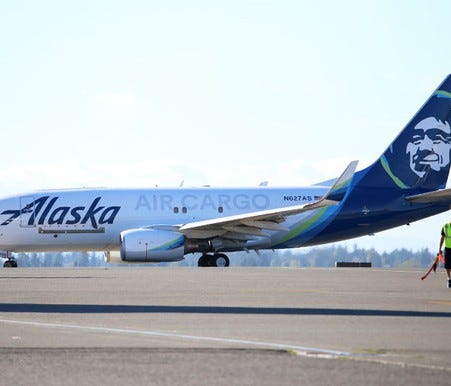 Alaska Air Group's Boeing 737-700 cargo freighter, the world's first conversion of a passenger Boeing 737-700 to a cargo plane.