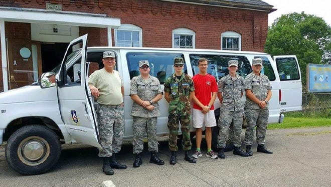 Broome-Tioga Civil Air Patrol officers and cadets who presented the colors at a New York Giants preseason game earlier this month: Capt. David Hektor, Capt. Stephen Savage, Cadet Senior Master Sgt. Dale Raeder, Cadet Maj. Kevin Vogel, Cadet Chief Master Sgt. Gavin Lipko and Cadet Master Sgt. Austin Savage.