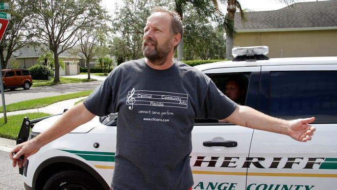 Eric Paddock, brother of Las Vegas gunman Stephen Paddock, speaks to members of the media near his home, Oct. 2, 2017, in Orlando, Fla.