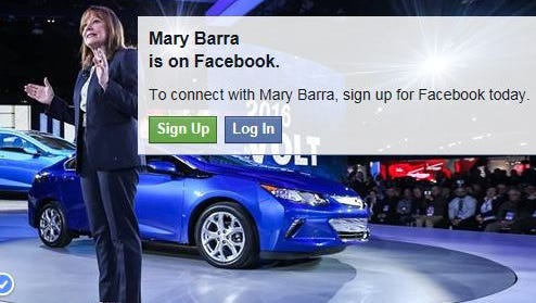 """Mary Barra, CEO of General Motors, is now on Facebook. She is listed as a """"public figure."""""""