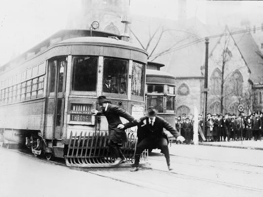 A streetcar safety demonstration on Woodward Avenue,