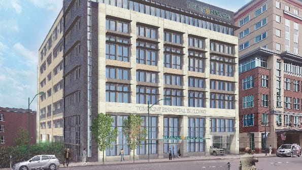 A rendering of the proposed headquarters for Tompkins Financial at 107 East Seneca Street.