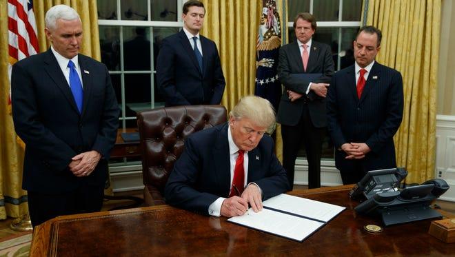 Trump and his men.
