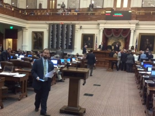 State Rep. Joe Moody, D-El Paso, prepares to talk about the bathroom bill in the Texas House on May 21, 2017.