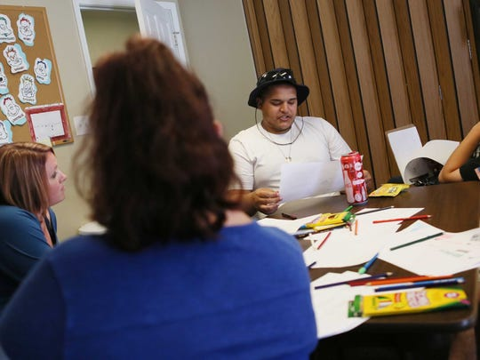 Michael Castrogiovanni, 24, who is in treatment at Aquila of Delaware Inc., an agency that treats substance abuse, talks about his journey into heroin addiction during a therapy class with outpatient therapist Brandi Ciamarra.
