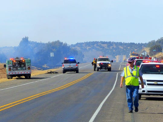U.S. 380 was closed west of Capitan for a few hours.