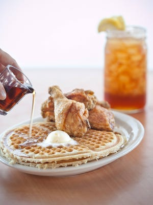 Lo-Lo's fried chicken, waffles and sweet tea.