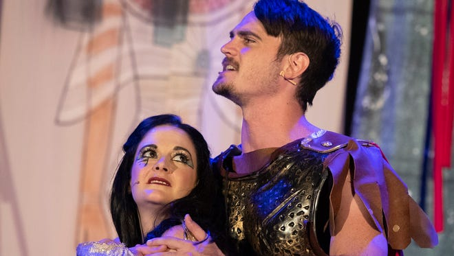Antony and Cleopatra are pictured in a scene from Palm Beach Shakespeare Festival.