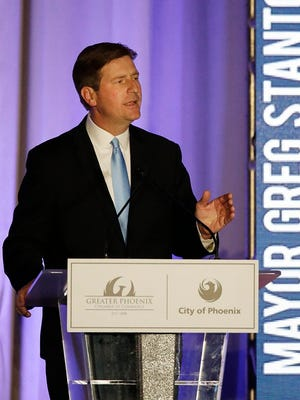 Phoenix Mayor Greg Stanton gives his State of the City speech, April 19, 2016.