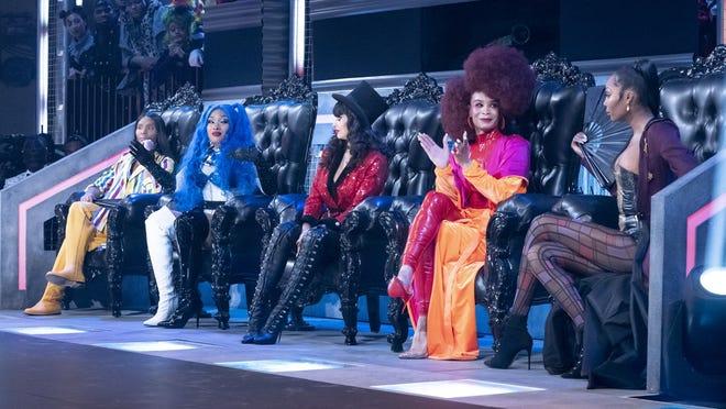 "From left, Law Roach, Megan Thee Stallion, Jameela Jamil, Leiomy Maldonado and Dominique Jackson are judges on ""Legendary."""
