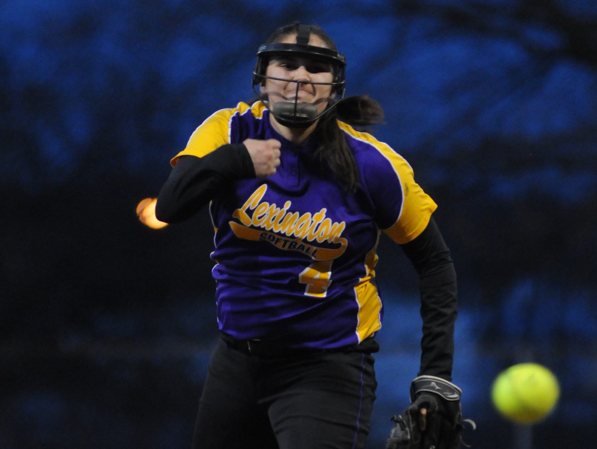Lexington's Abbie Sgro delivers a strike against Kenton Ridge at last year's Wendy's Spring Classic in Ashland. The reigning News Journal Pitcher of the Year returns for her senior softball season.