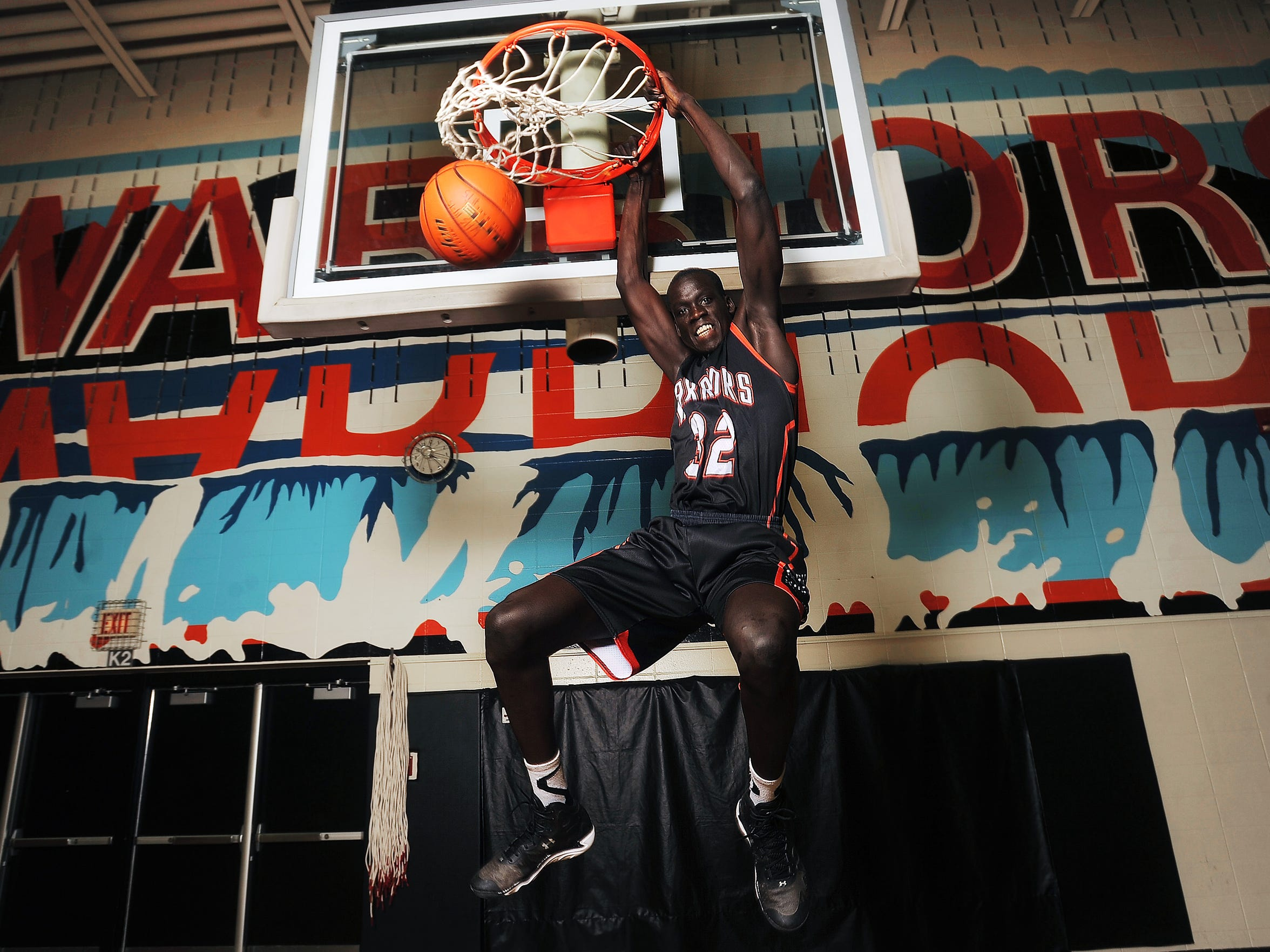 Deng Geu does his signature dunk at Washington High School on Friday, April 10, 2015.  Geu was the 2015 Argus Leader/Sanford Pentagon First Five Player of the Year.