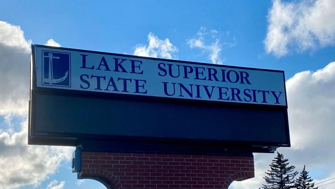 A Lake Superior State University electric sign, as pictured on a partially cloudy day.