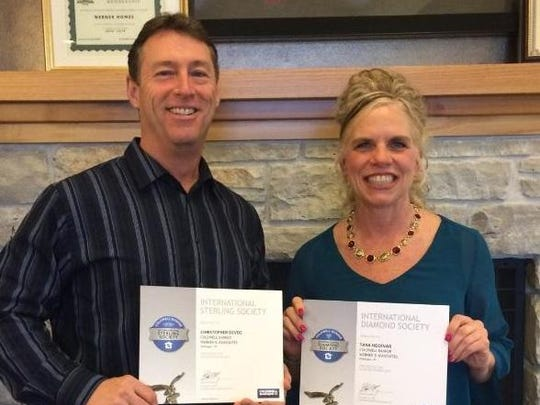 Coldwell Banker Werner and Associates realtor Christopher Devoe and sales manager Tara Hocevar have received sales awards for their production in 2015.