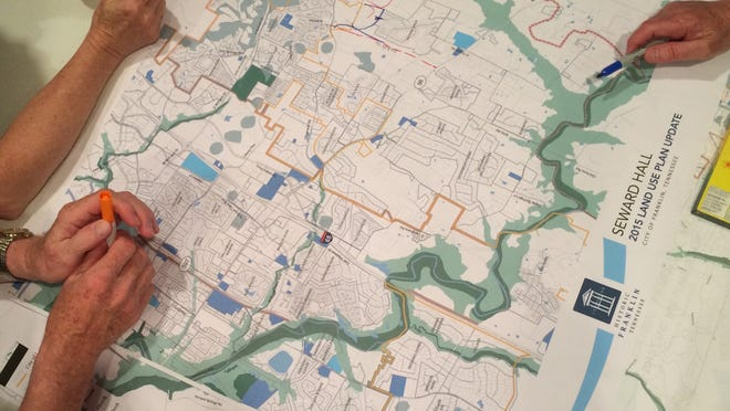 Residents map out Franklin's future at a land-use planning meeting Wednesday night.