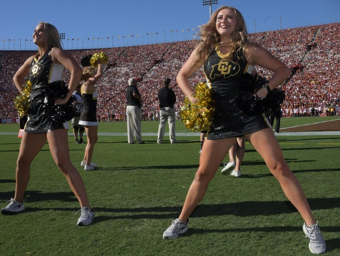 Colorado buffaloes cheerleaders perform during a ncaa