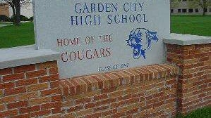 The sign for Garden City High School.
