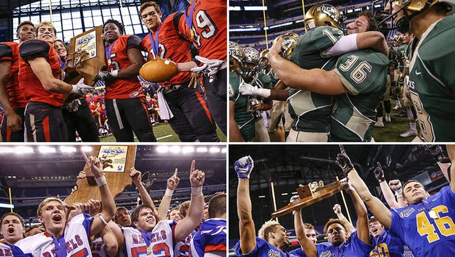 From top left clockwise: Cardinal Ritter, Westfield, Carmel and Roncalli all won state titles last season.