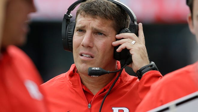 Rutgers head coach Chris Ash looks on from the sidelines against Washington in the first half of an NCAA college football game Saturday, Sept. 3, 2016, in Seattle. (AP Photo/Elaine Thompson)
