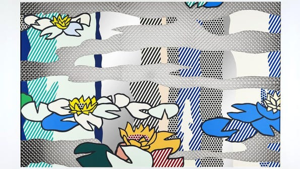 """""""Water Lily Pond with Reflections"""" by Roy Lichtenstein, 1992; screenprinted enamel on processed and swirled stainless steel"""