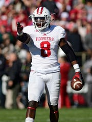 Indiana Hoosiers linebacker Tegray Scales  (8) reacts