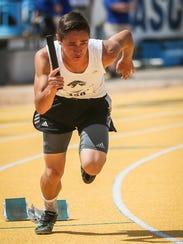 Water Valley's Angel Dominguez races in the 800-meter