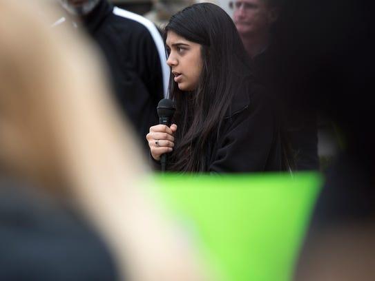 Madison Academic High Schoo student Bansi Govin addresses