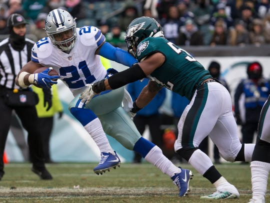 Cowboys running back Ezekiel Elliott rushed for 983 yards in just 10 games last season.