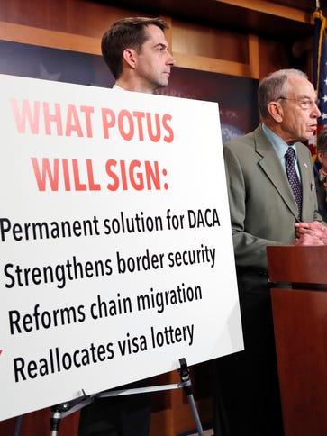 Sen. Chuck Grassley, R-Iowa, second from left, speaks