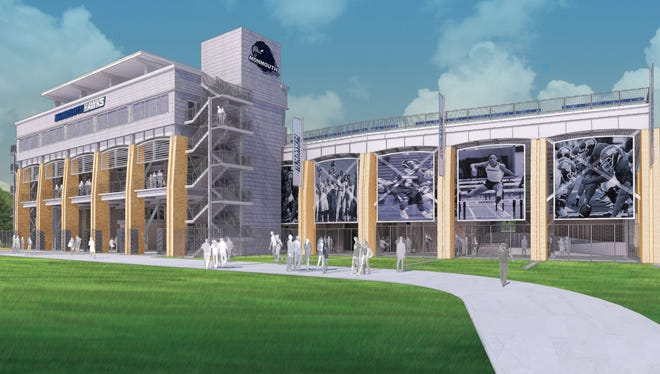 An artists rendering looking at the front of the Monmouth University's new stadium, expected to be completed for the start of the 2017 football season.