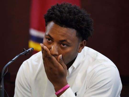 "Jaborian ""Tip"" McKenzie testifies Wednesday, the third day of Cory Batey's trial, in Judge Monte Watkins' courtroom in the A. A. Birch building."