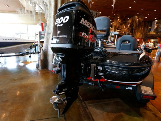 A 200-horsepower motor on the back of a bass boat at