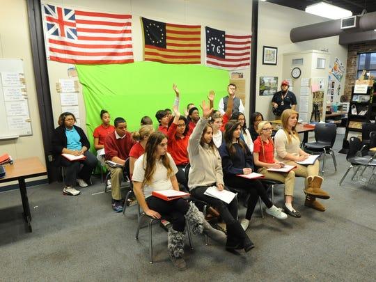 Richland Academy eighth-grade teacher Dan Jones organized a Skype interview with Ellen Stanton at the U.S. Capitol's visitor center Tuesday.