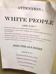 An alt-right recruitment flier was found on campus at Clemson University on Monday, Oct. 30, 2017.