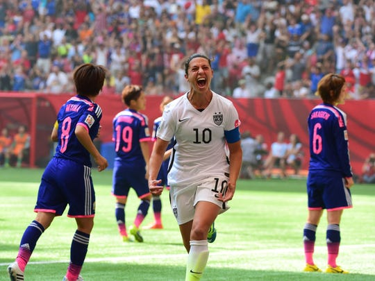 United States midfielder Carli Lloyd (10) reacts after
